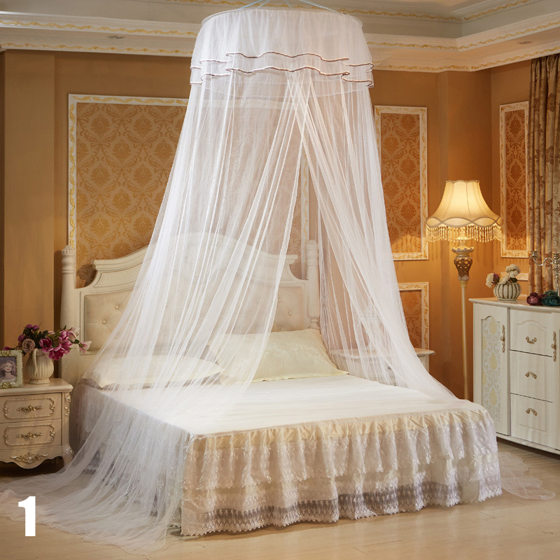 Luxury Romantic Hang Dome Mosquito Net Insect Bed Canopy Netting Lace Round Mosquito Nets style 6 65cm round diameter 2