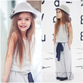 Toddler Baby Girls Outfit Set Clothes Vest T Shirt + Bownot Long Dress Suit 2-7Y