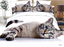 3d Cat / Print King Size 4pcs Bedding Set with bed sheet Polyester / cotton
