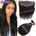Unprocessed Virgin Peruvian Hair With Closure Black Straight Hair With Frontal Famous Queens Glamour Hair Products With Closure