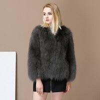 Women's Warm Casual Real Fox Fur Coat Short Winter Fur Jacket Outerwear Natural Blue Fox Fur Coats for Russia Women