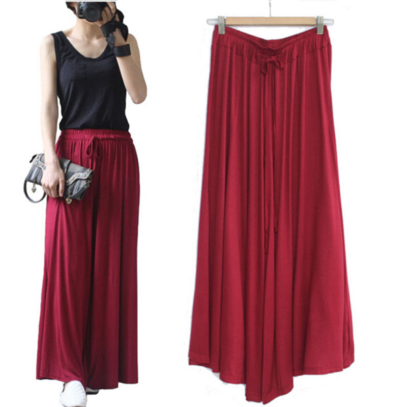 Summer   Wide     Leg     Pants   Female Trousers Pure Color Modal Loose Large Size High   Wide     Leg     Pants   Casual   Pants   Pleated