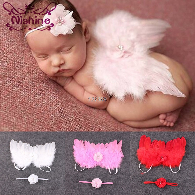 Nishine Accessories Headband Angel-Wings Photo-Prop-Set Chiffon Flowers Choldren Newborn