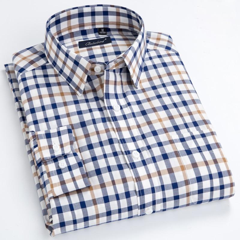 Yayu Mens Slim Long-Sleeves Chest Pocket Button Down Plaid Classic Dress Shirt