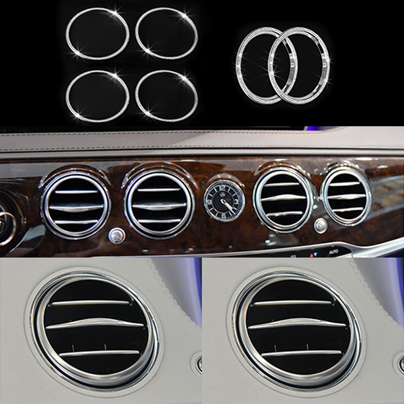 6pcs Diamond Style Air Outlet Ring Trim Cover For <font><b>Mercedes</b></font>-Benz <font><b>S</b></font> <font><b>Class</b></font> <font><b>W222</b></font> 2014-2016 image