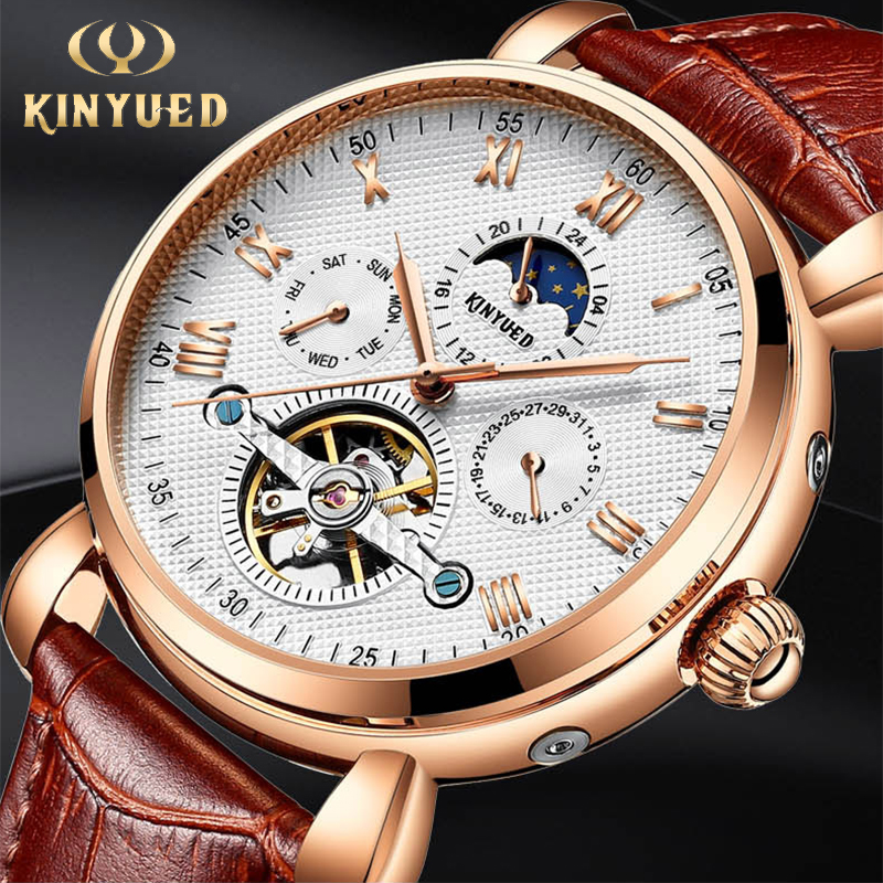 KINYUED Classic Automatic Skeleton Watch Men Luxury Brand Tourbillon Mechanical Watches Rose Gold Moon Phase Calendar Male Clock swiss ailang brand men automatic self wind watches leather skeleton tourbillon mechanical clock male rose gold shell watch new