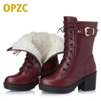 High Heeled Genuine Leather Women Winter Boots Thick Wool Warm Women Martin Boots High Quality Female