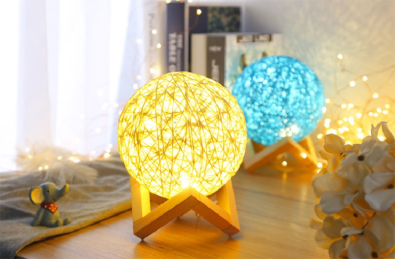 Rattan Ball Table Moon Lamp - Storefyi