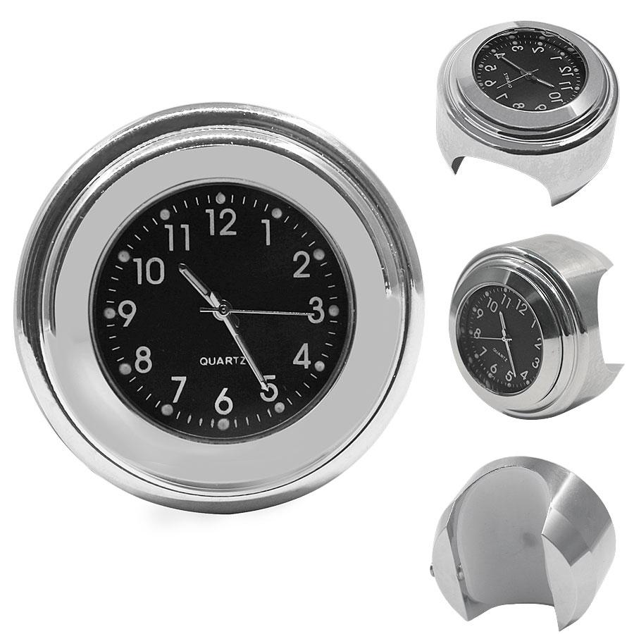 2PCS/Set Universal Waterproof 7/8 Motorcycle Handlebar Black Dial Clock Watch Temp Thermometer For YAMAHA Harley Free Shipping 22