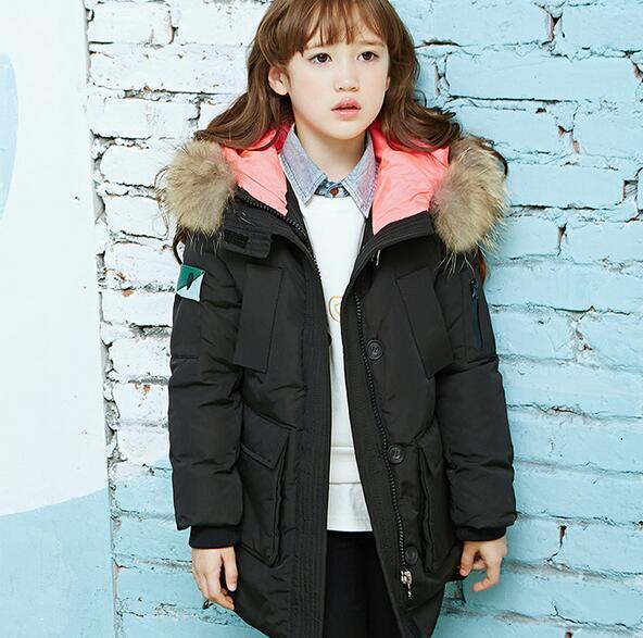 Kids Duck Down Jacket 2016 Winter New Hooded Fur Collar Zipper Warm Tops Down Coat For Boys Children Outerwear Coat Girls Parkas