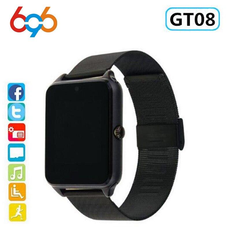 696 GT08 Além de Apoio de Pulso Smartwatch Relógio Inteligente Empurre Mensagem SIM/TF Cartão Do Bluetooth Relógio De Pulso Para A Apple Android Telefone