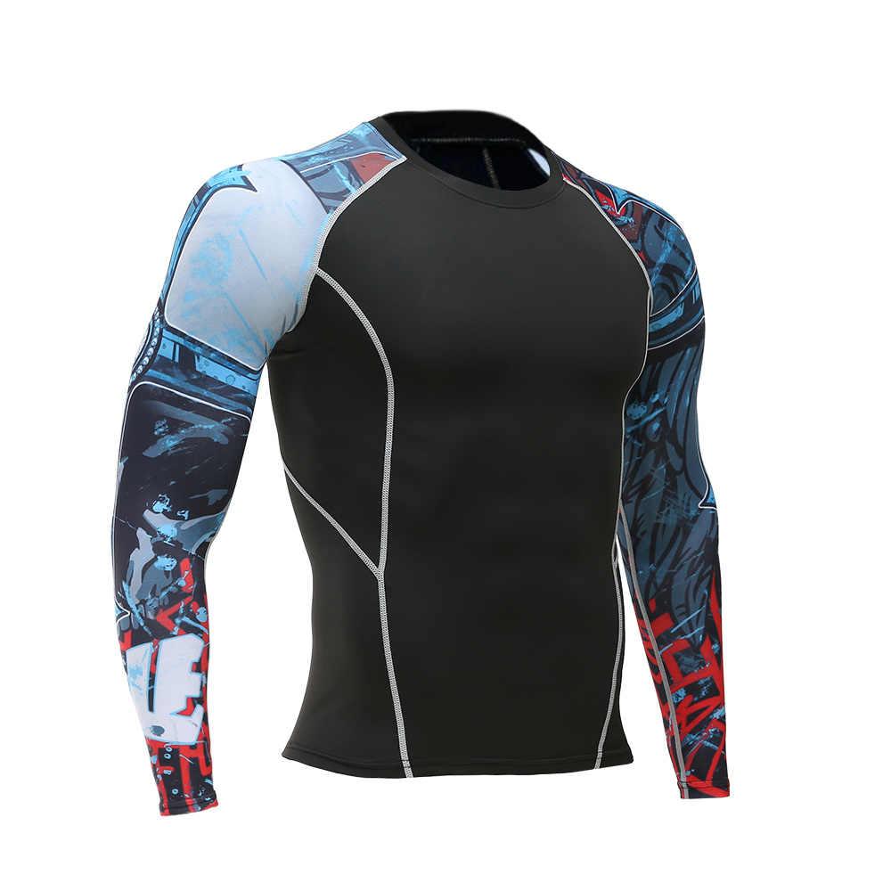 الرجال المهنية ضغط mma rashguard ثبات 3d الطباعة لياقة طويل كم t-shirt crossfit