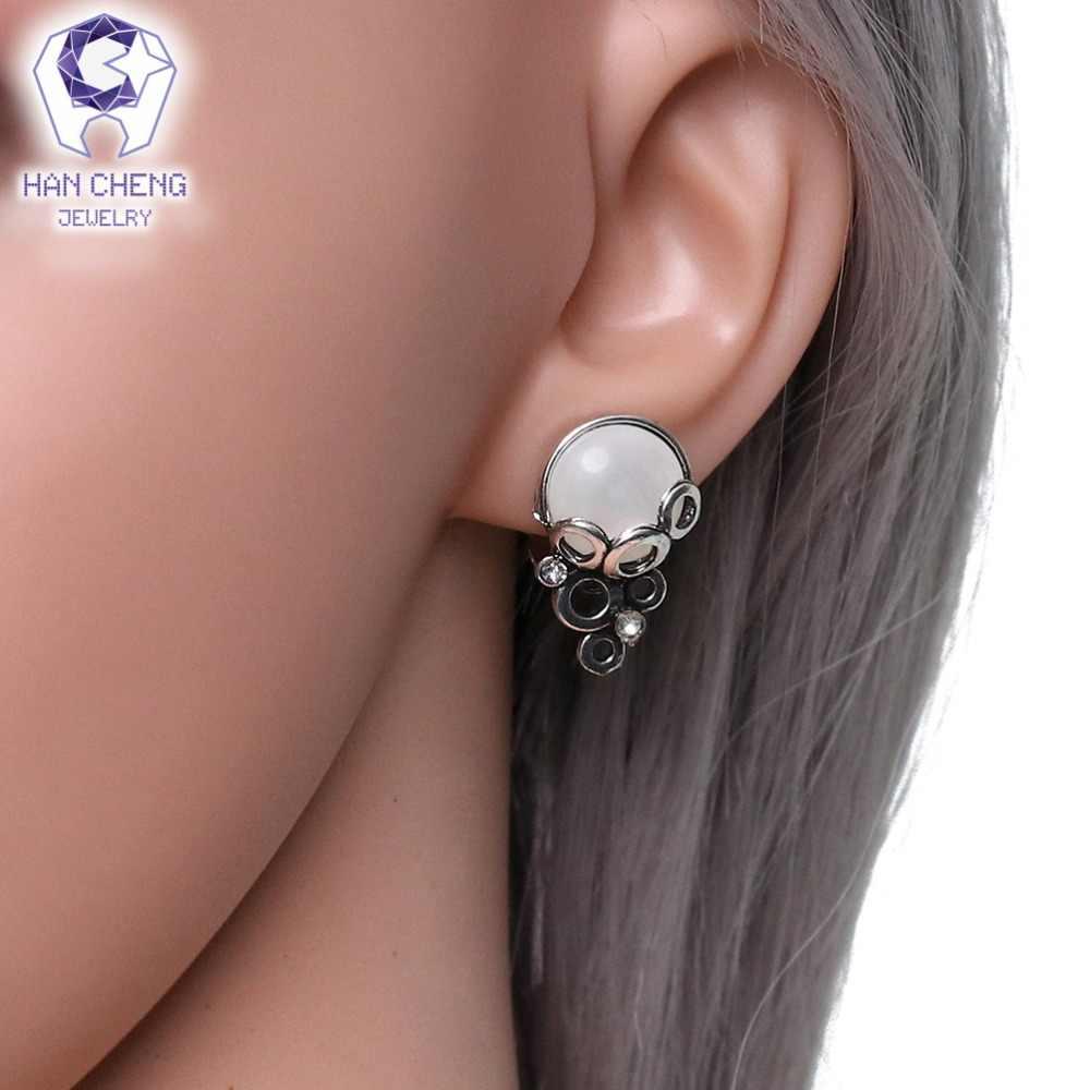 Hancheng Baru Fashion Vintage Berlapis Perak Kualitas Tinggi Halus Opal Anting-Anting Klip Bulat Batu Klip Telinga Anting-Anting untuk Wanita Brincos