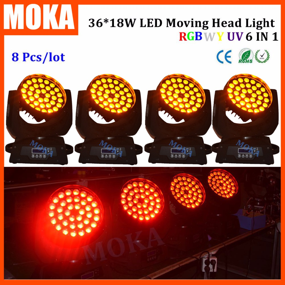 8PCS/LOT Stage Light Head Moving Led 320w 18w*36 Disco Dj Effect Light Strobe 1-20 Times / sec For Show Hotel Wedding