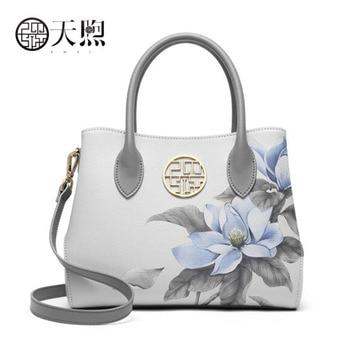 2020 New luxury leather hangbags printing designer women Leather bag big capacity women shoulder crossbody bags for women gray