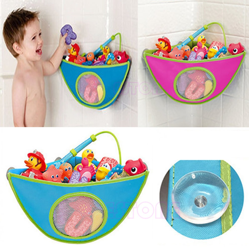 Baby Kids Bath Time Toy Tidy Suckers Cup Triangle Bag Organizer ...