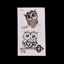 2019 NEW Cute Owl Pattern Temporary Tattoo Sticker Waterproof Decals Fake tatoo Art Taty Women's Tattoo Sticker(China)