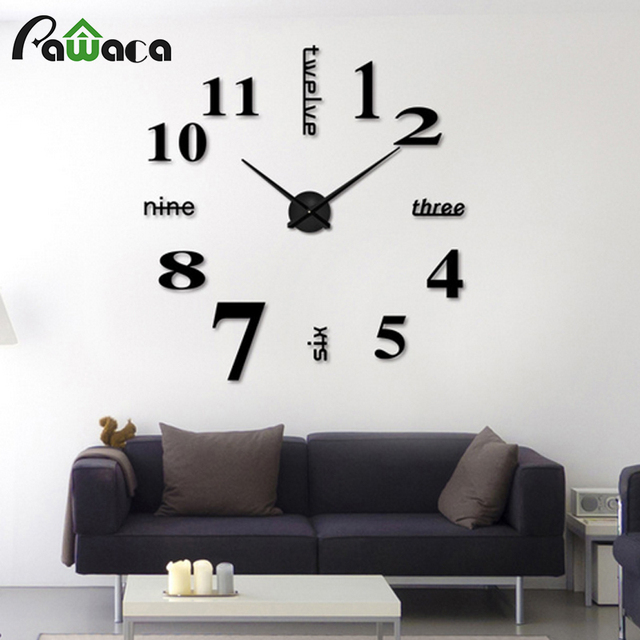 creative diy wall mount clock 3d stereo mirror surface wall sticker