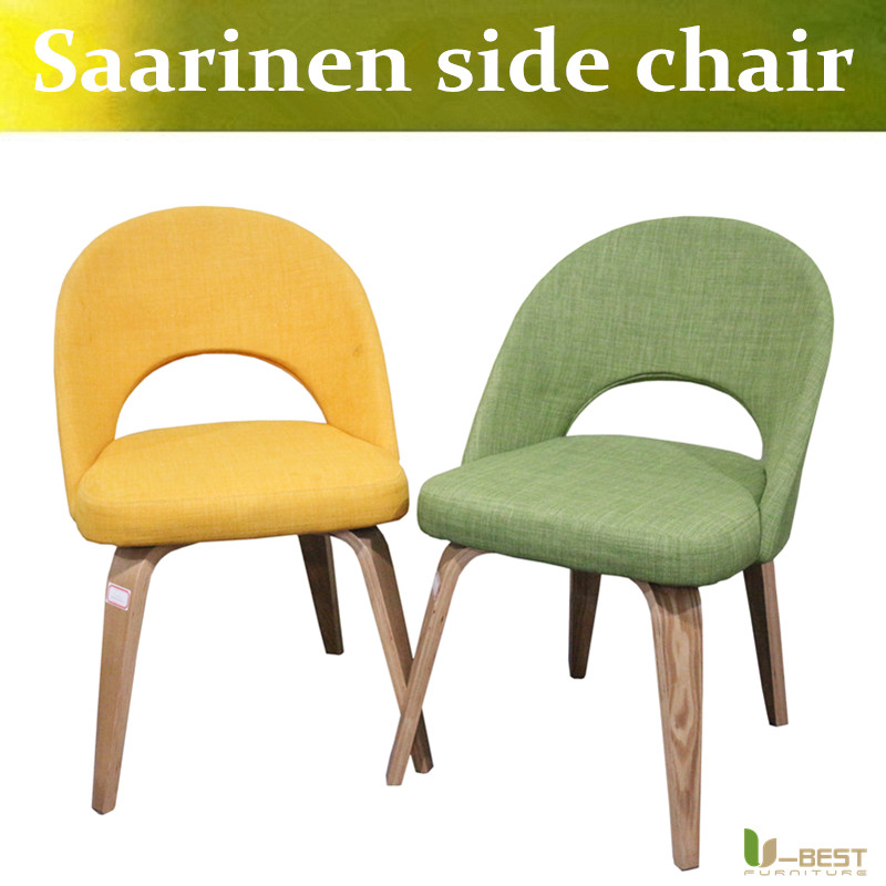 Free shipping U-BEST mid century replica Eero Saarinen executive armless side dining chair with plywood wood legs u best replica eero aarnio half dome chair with fibreglass and high quality pu leather