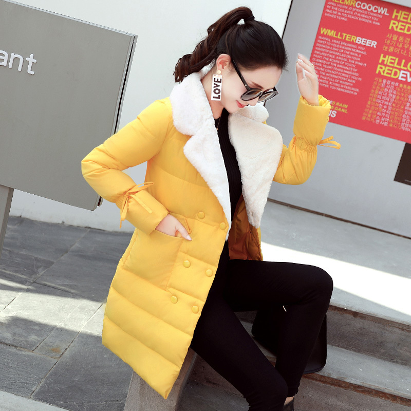 2017 New Winter Women Thicken Coat Female Fashion Warm Outwear Casual Cotton-Padded Middle Long Wadded Jacket Parka Plus Size 10 colors winter parka 2017 new women velvet army green cotton warm wadded long thicken coat outwear big size s 3xl hot c79003a