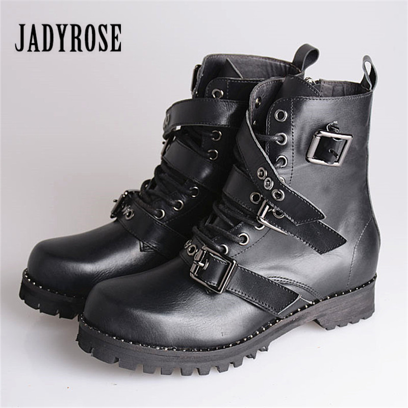 Jady Rose Punky Style Women Genuine Leather Ankle Boots Straps Platform Short Booties Lace Up Female Autumn Flat Martin Boot jady rose vintage flat ankle boots for women side zipper straps genuine leather short botas female platform martin boots