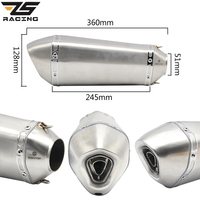 ZS Racing 51mm Universal Exhaust Steel White Akrapovic Motorcycle Exhaust Scooter Muffler Exhaust For CBR125 250