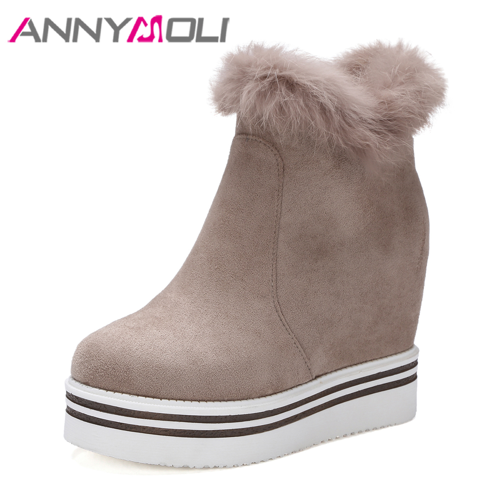 ANNYMOLI Winter Women Ankle Boots Platform Wedge Boots Natural Real Fur Snow Boots Zip Hidden High Heel Female Shoes 2018 Black okhotcn golden chain women shoes high wedge shoes platform hidden heel zapatos mujer fashion high top tenis feminino ankle boots