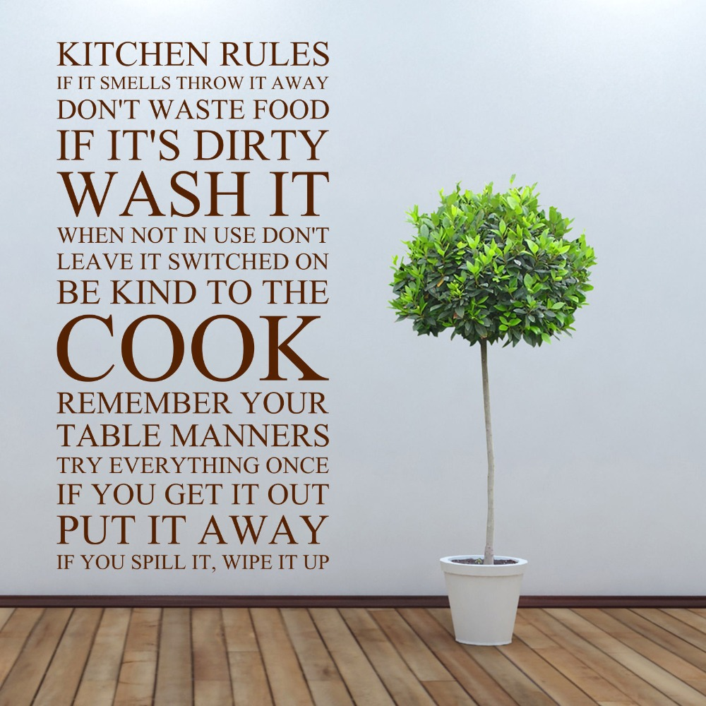 Kitchen Rules Vinyl Art Sticker Wall Stickers Home Decor Decorated In The Kitchen Or Dining Room