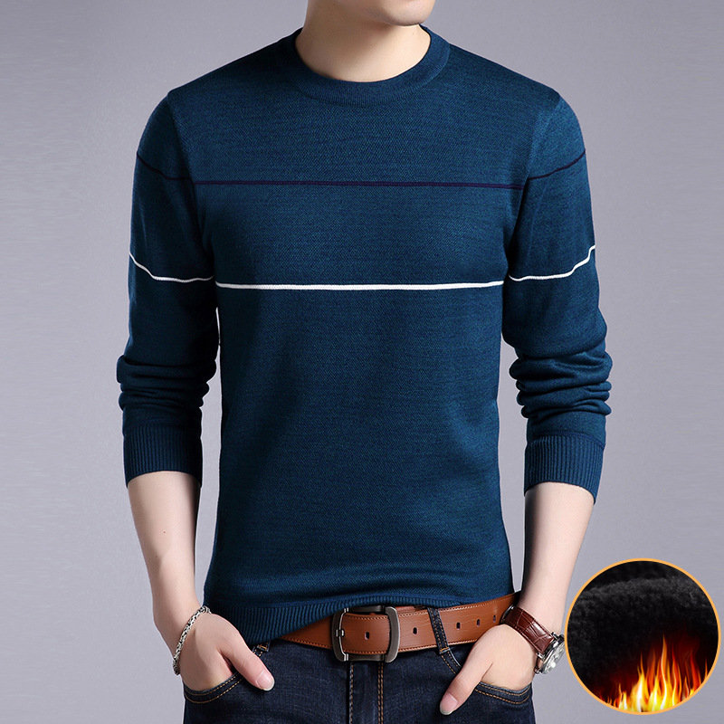 Sweater Pullover Men 2017 Male Brand Casual Slim Warm Wool Striped Knitted Winter Pullover Sweater Cashmere Mens Sweaters