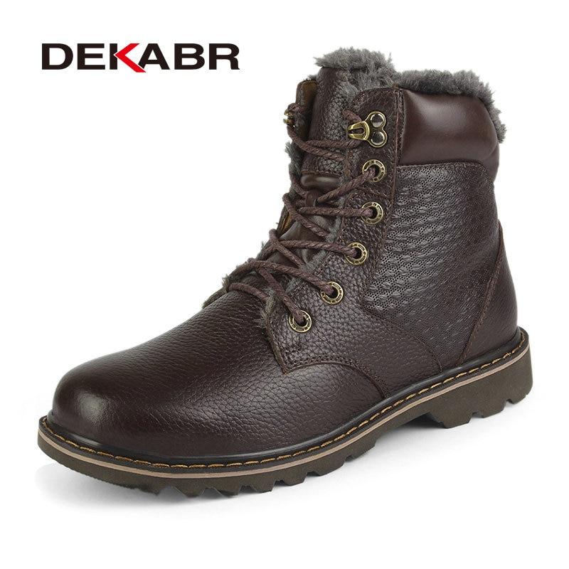 Ayakk.'ten Kar Botları'de DEKABR Marka Erkek Kış Botları Sıcak Hakiki Deri Erkek Kar Botları Çalışma Ayakkabı Erkek Botları moda rahat ayakkabılar Boyutu 36 ~ 48'da  Grup 1