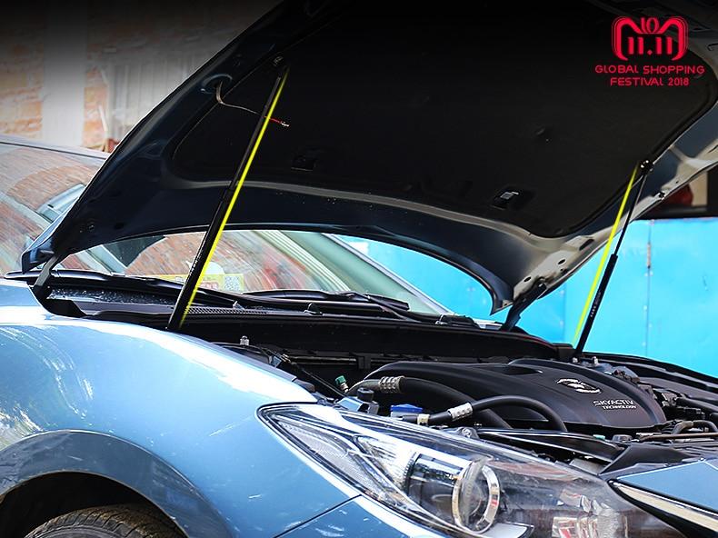 For Mazda 3 Axela 6 Atenza 2014 2015 2016 2017 2018 Car Bonnet Hood Support Rod Lift Strut Bars Spring Shock Car Styling Refit 2qty front hood lift support strut spring rod for mercedes benz cls500 cls55