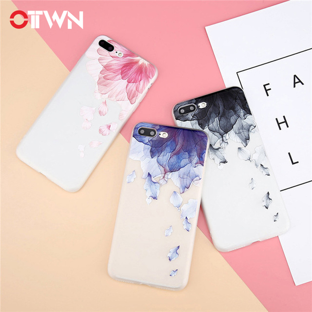 Ottwn Case For iPhone X 8 7 6 6s Plus 3D Relief Flowers Watercolor Floral Petals UltraSlim Soft TPU Cover Cases For iPhone 8