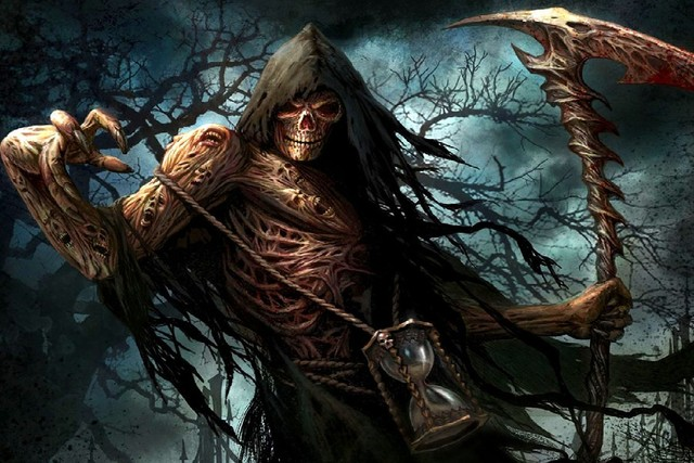 fantasy art dark art works reaper scythe and hourglass death cloth