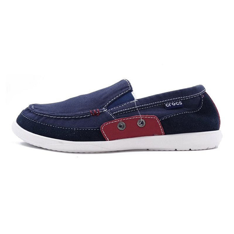 Crocs summer canvas shoes men's outdoor walking shoes Wallu low to help flat lazy home shoes