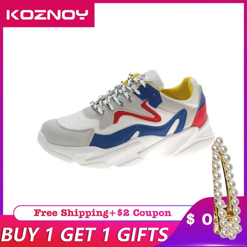 Koznoy Sneakers Women Spring Autumn Breathable Korean Version Dropshipping Leisure Thick Bottom Fashion Lace Shoes