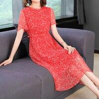 Real 100% silk natual dress summer clothes for women plus size large midi party dresses elegant noble retro print floral robe