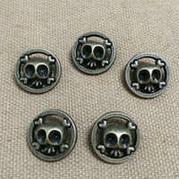 50PCS 18MM Antique Brass Round Skull Studs Rivet Punk Bronze Skull Spike Shoes Belt Bag Accessories Leather Craft Shipping Free