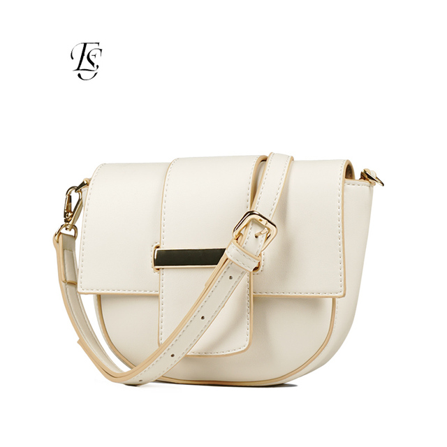 E.SHUNFA brand fashion ladies pockets new arrival cover type solid color wild shoulder bag women's saddle bag khaki apricot
