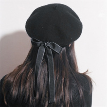 4acc8a8f777cf Liva girl Women Wool Warm Winter Baggy Bow Tie Classic French Fluffy Beanie  Beret Hat