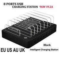 8 Porte Caricabatteria Da Tavolo USB 96 W Multi-Funzione USB Stazione di Ricarica Dock con il Basamento EU US AU UK Spina per il Telefono Mobile Tablet PC