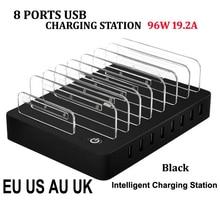 8 Порты Рабочего USB Зарядное Устройство 96 Вт Многофункциональный USB Зарядки Док-Станция с Подставкой ЕС AU США ВЕЛИКОБРИТАНИЯ Plug для Мобильного Телефона Tablet ПК