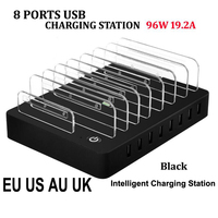 8 Ports Desktop USB Charger 96W Multi-Function USB Charging Station Dock with Stand EU US AU UK Plug for Mobile Phone Tablet PC