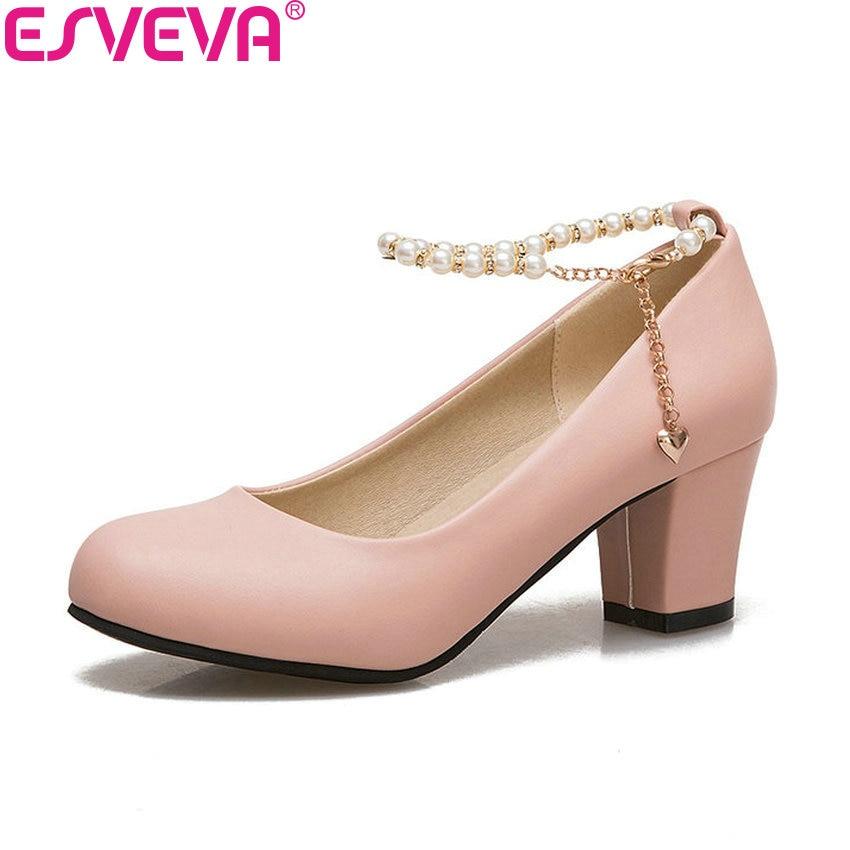 100% Wahr Esveva 2018 Frauen Pumpen String Bead Schuhe Süße Stil Schnalle Elegante Pumps Platz High Heels Runde Kappe Frauen Schuhe Größe 34-43