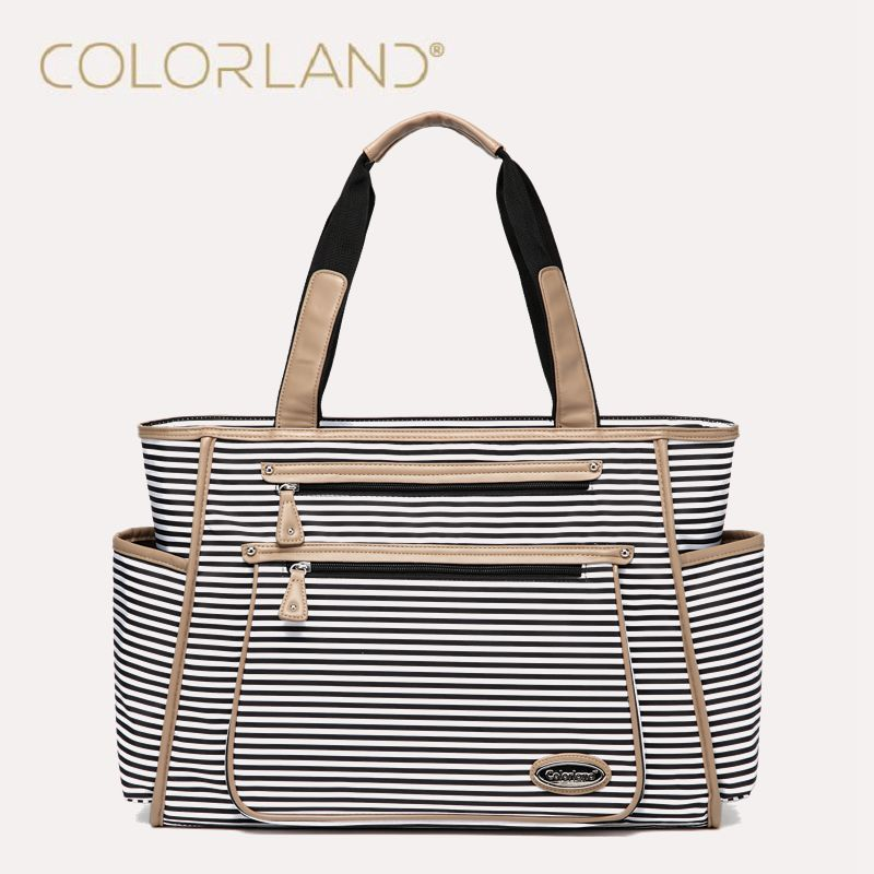 Colorland Black White Stripes Baby Diaper Bag Organizer Fashion Mummy Maternity Bag Travel Messenger Changing Nappy Bags Handbag цена