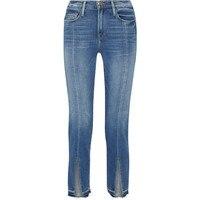 Blue Flare Jeans Women Cotton Vintage Split Fork Ankle Trousers Denim Jeans