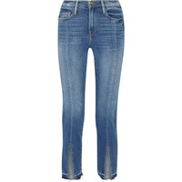 Blue Flare Jeans Women Cotton Vintage Split Fork Ankle Trousers Denim Jeans