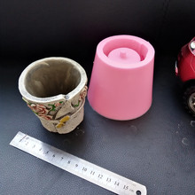 Simple Round Countryside Gardening flowerpot making Cement Mould Silicone Concrete Planter Mold