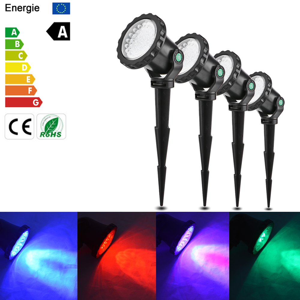 4Pcs IP68 RGB LED Underwater Projector Spotlight Lamp Waterproof Remote Control 4 Light Modes For Garden