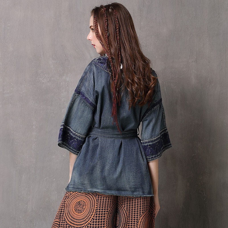 6d9b8e875 Keer Qiaowa Japan Style Blouse Kimono Cardigan Women Belted Shirt Embroidery  Denim Blouse Flare Sleeve Spring 2018 High Quality-in Blouses & Shirts from  ...