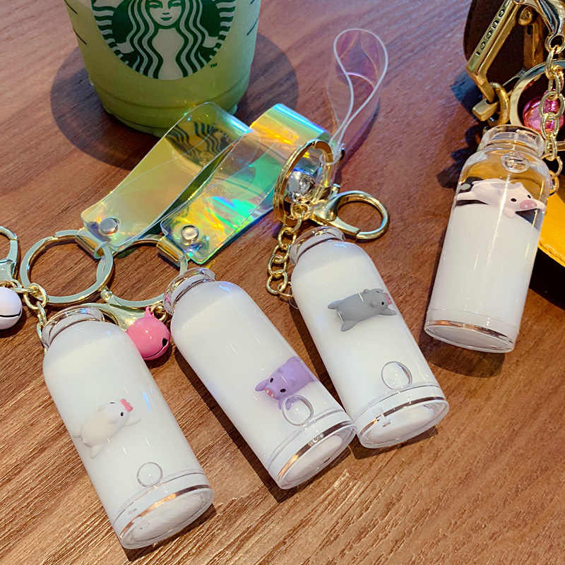 2019 Creative New Mini  milk Bottle Keyring Key Ring Keychain for mobile phone, Christmas Gift